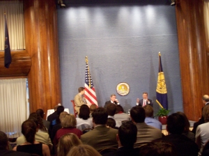 I'm not very good at taking pictures. Left to right: McClellan, Leavitt, Daschle.