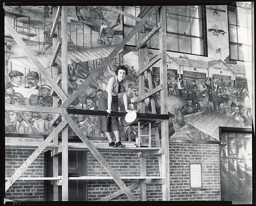 Muralist Aline H. Rhonie at work, 1935/Smithsonian via Flickr Creative Commons
