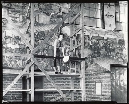 Muralist Aline H. Rhonie at work, 1935/Smithsonian via Flickr Creative Commons