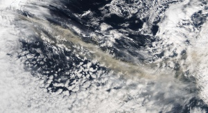 Ash cloud from space